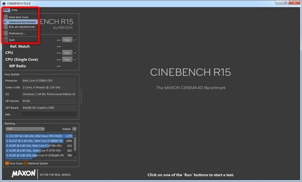 Cinebench R15:ベンチマークテスト方法1