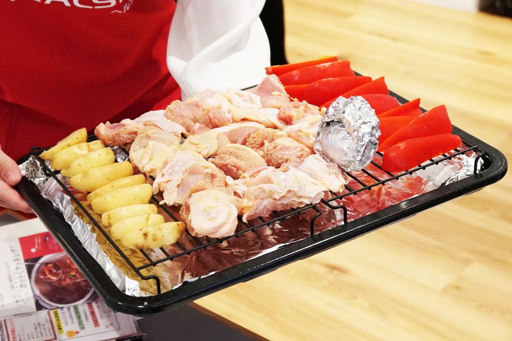 ヘルシオウォーターオーブンで鶏肉・野菜を同時調理