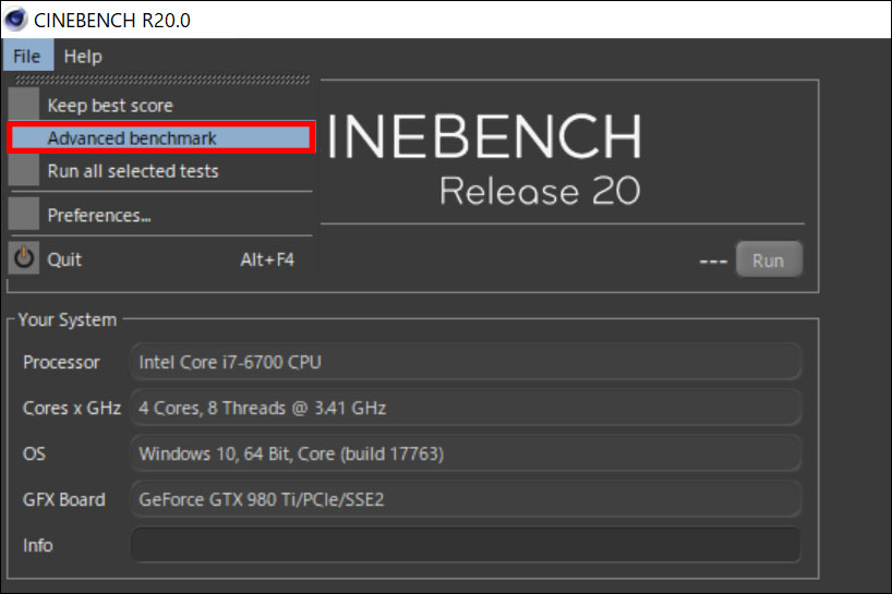 Cinebench R20:Advanced Benchmarkを選択