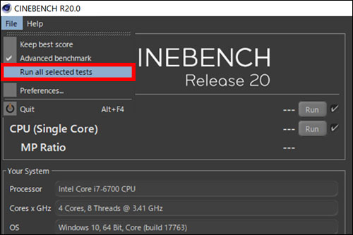 Cinebench R20:Run all selected testsでBenchmark開始!
