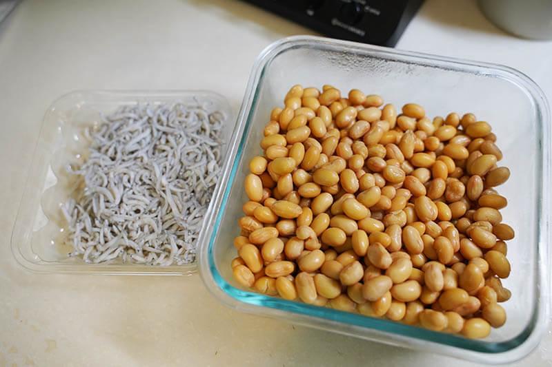 大豆とじゃこの甘辛炒め 材料
