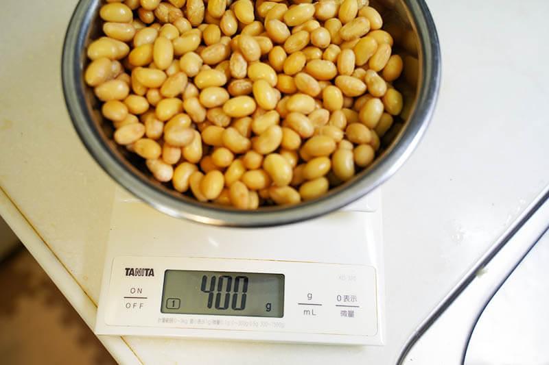 大豆とじゃこの甘辛炒め 大豆計量