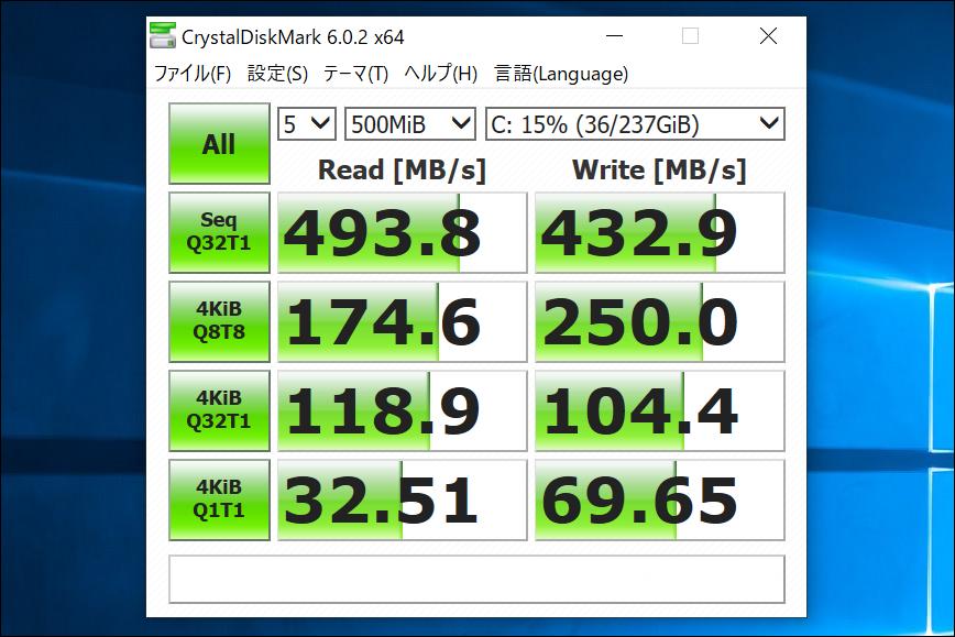 CHUWI LapBook Pro 14.1 CrystalDiskMark結果