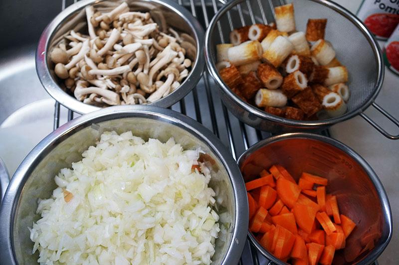 第3位:ちくわカレー 食材準備