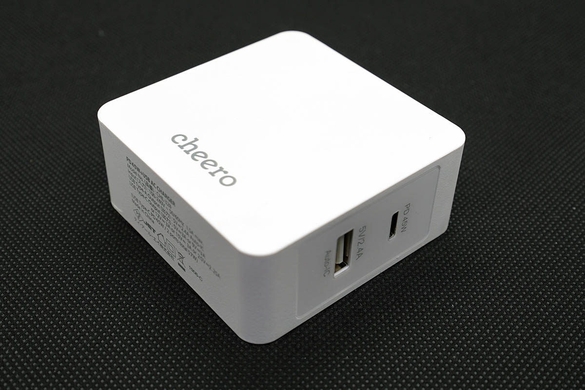 cheero 2 port PD Charger (PD 45W + USB) 本体