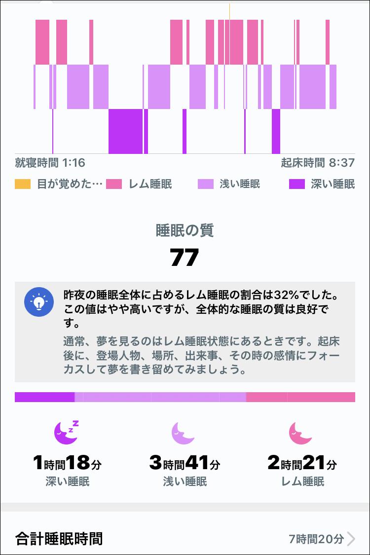 HUAWEI Band 4 - HUAWEI TruSleep 2.0(睡眠トラッカー) アプリ表示