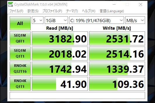 Legion Y740(15):CrystalDiskMarkベンチ結果 SSD