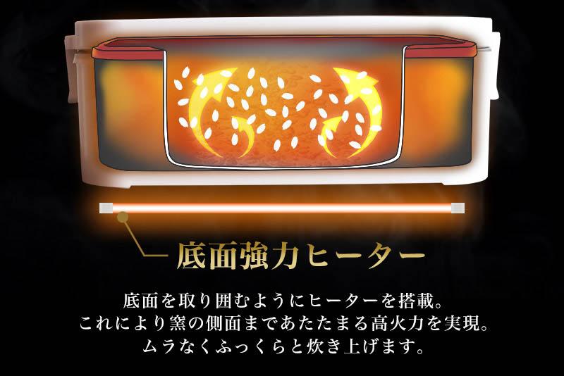 おひとりさま用超高速弁当箱炊飯器:底面協力ヒーターについて