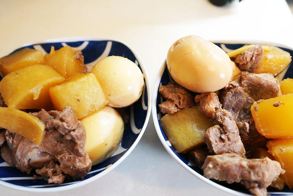 豚大根煮をお皿に取り分けた。左右で豚肉・大根・卵の色あいが異なる点に注目!