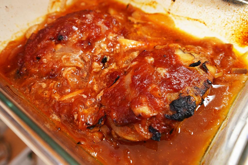 ヘルシオデリ:「トマトソースの煮込みハンバーグ」調理終了!
