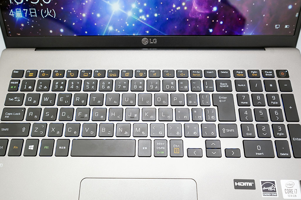 LG gram 17Z90N:キーボード全体像