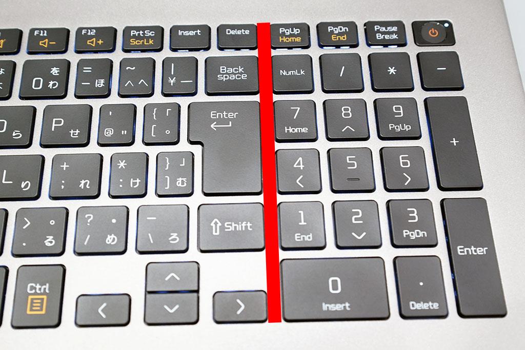 LG gram 17Z90N:キーボードの隙間もしっかり