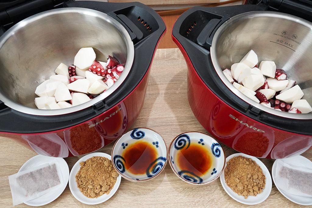 たこと里いもの煮物:2セット準備