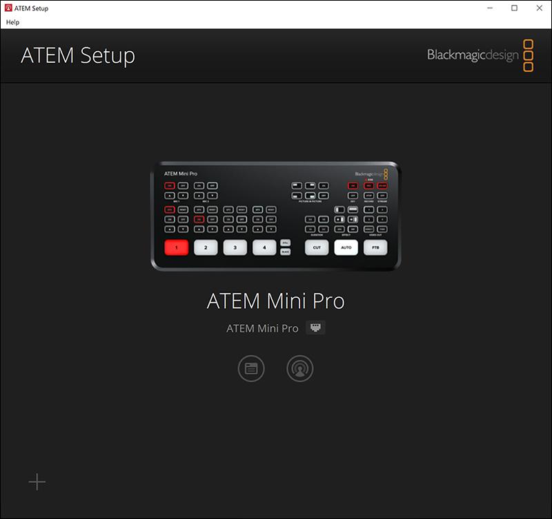 ATEM SetupでPCとATEM Mini Proが接続できたところ