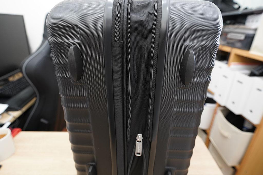Amazonベーシック スーツケース ハードタイプ:容量調整ジッパー