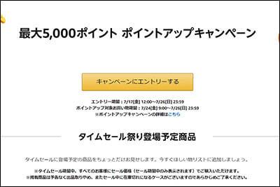 5000ポイント ポイントアップキャンペーンのエントリページ(エントリ前)