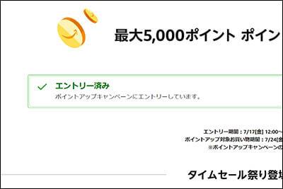 5000ポイント ポイントアップキャンペーンのエントリページ(エントリ後)