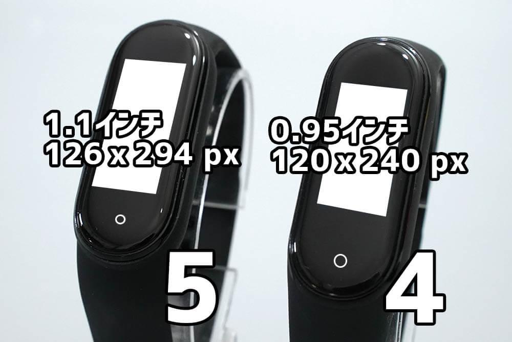 Miスマートバンド4と5の違い:ディスプレイサイズ