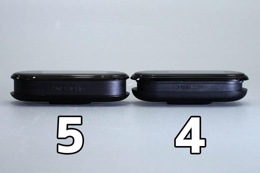 Miスマートバンド4と5の違い:5は本体横の溝が太くなった